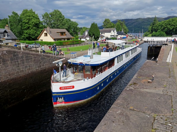 The Spirit of Scotland passing through one of the locks along the Caledonian Canal