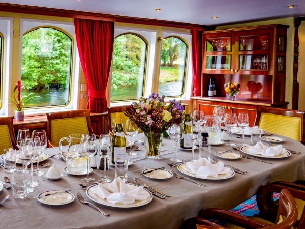 The Spirit of Scotland has large picture windows in the dining room<br>and salon so guests can always enjoy the magnificent vistas.