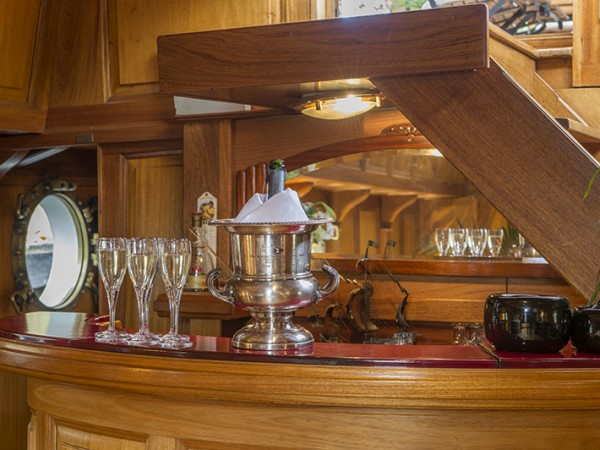 The beautifully crafted bar aboard the Tango